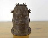 Authentic Antique AFRICAN Art Tribal Benin BRONZE Oba King Head Bust SCULPTURE Nigeria Ethnic Global Decor