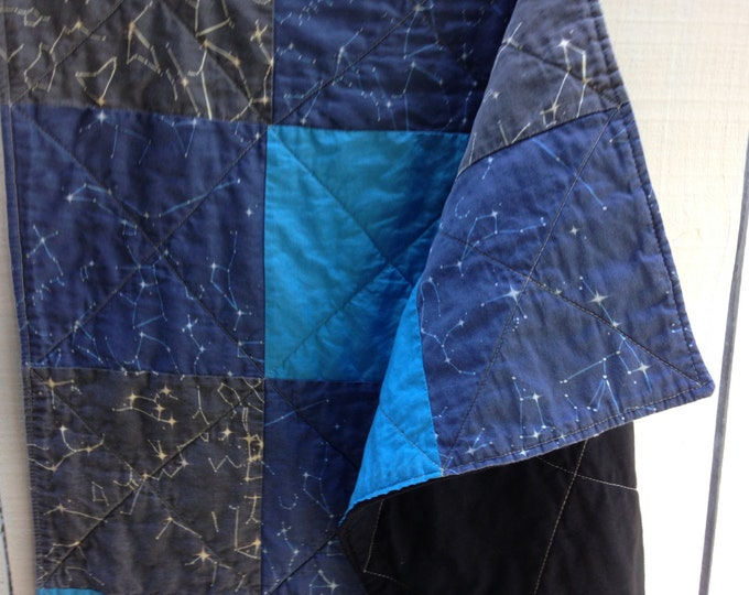 Organic Patchwork Crib Quilt - Organic Cottons and Hand Dyed Organic Sky Blue - Constellation Sky Maps, Made to Order