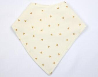 Ivory With Gold Triangle Bandana Bib, Baby Drool Bib, Baby Scarf, Bibdana