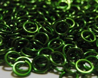 300 Jump Rings 1/4 inch ID 14g AWG Bright Aluminum Chainmail Anodized Green