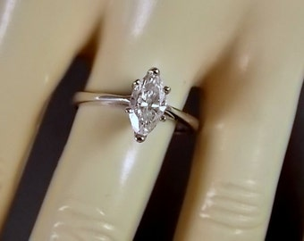 Marquise Diamond Solitaire 1.02 Carats White Gold 14K 2.9gm size 7.75 Appriased 3999.00 in 2016