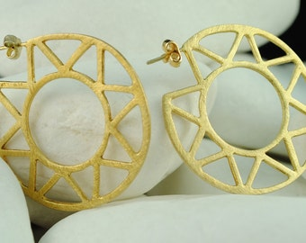 Star Gold Plated Sterling Silver Hoop Earrings- FREE Shipping