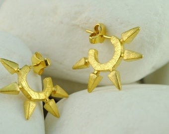 """Spike Gold Plated Sterling Silver Huggie Earrings """"Rock"""" - FREE Shipping"""