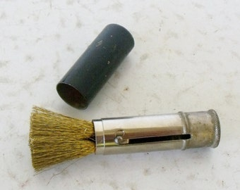 Antique Brass Wire Suede Brush Ladies Suede Lipstick Style Gold Tone Case Boot Brush