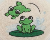 Jumping Frog Embroidered Hand Towel or Washcloth
