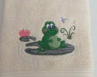 Frog Embroidered Hand Towel or Washcloth