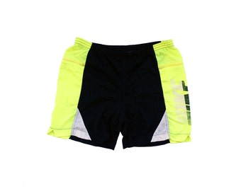 Rare 80s Nike Neon Highlighter Yellow Cycling Shorts - 30 to 32