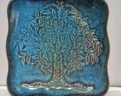 Copper Blue Tree of Life Dish, Square Blue Tree of Life Plate, Family Tree Plate, Scalloped Family Tree Plate, Woodland Tree Dish, Blue Tree