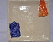 Doctor Who Home Decor, Tardis Soap Dish, Doctor Who Spoon Rest, Tardis Kitchen Decor, Doctor Who Pottery, custom 4 weeks production time