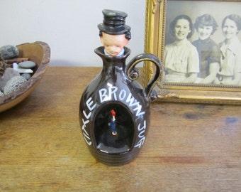 "Musical ""Little Brown Jug"" drunken man Ceramic decanter. Working display, prop, man cave, collectible"