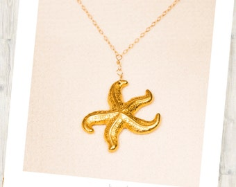 Starfish Drop Necklace, Starfish Pendant, Gold Plated Starfish Necklace