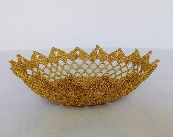 Crochet Lace Bowl, Doily Bowl, Glitter Centerpiece Bowl, Crochet Filigree Bowl, Decorative  Bowl, Crochet Tea Light Holder, Stiffen Bowl