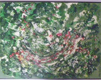 "Garden  . An original  abstract  acrylic  painting on canvas-  24 "" X 18"" x 3/4 "" on back  stretched canvas."