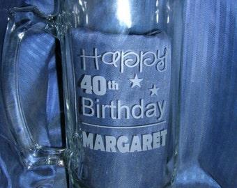 Etched birthday beer mug, engraved beer mug, etched glass mug, engraved glass mug, engraved 21st beer mug, etched 50th mug