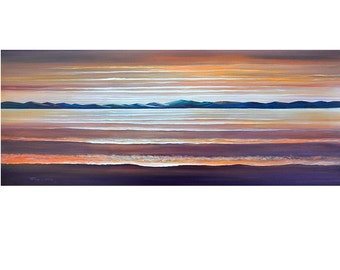 VERY LARGE 24X60 Original Abstract Painting Ready to Hang Seascape Sunset Art  By Thomas John