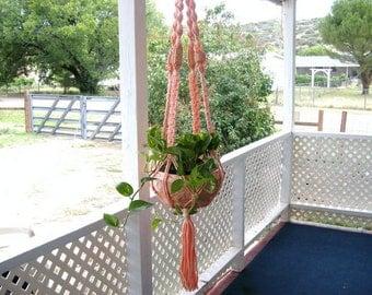 Plant hanger, macrame plant hanger, coral plant hanger