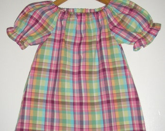 Madras Plaid short sleeve peasant tunic top cotton Size 6 ONLY ready to ship Ladyoutofcarolina