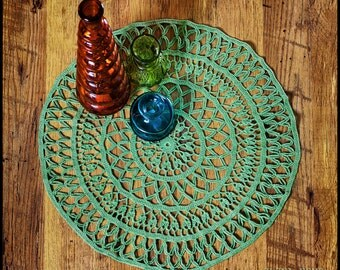 Crochet doily Doily NISA Crochet lace doily Green doily Decorative doily Table linens Table cover Table decor Centerpiece decor Home decor