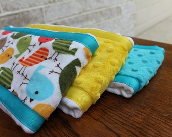 Set of 3 Matching Burp Cloths with Bird Print Minky and Coordinating Yellow Minky and Olive Minky with Ribbon Edging