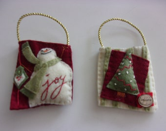 Handmade Set of 2 Ornaments /  Gift Card Holders UNIQUE
