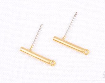 E278-MG // Matt Gold Plated Basic Round Bar Earring Post, 2pcs