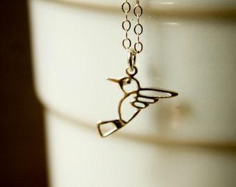 Openwork Hummingbird Necklace in Sterling Silver