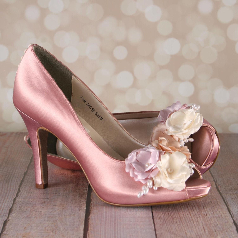 antique pink wedding shoes antique pink peeptoe custom