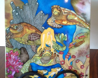 """Mermaid and Turtle Ceramic Tile 6""""x6"""" -  Hitch a Ride  - Made in Hawaii - Artwork by Candace Lee."""