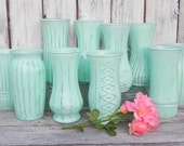 Mint Collection of Large Shabby Chic Painted Vases for Weddings, Showers, Events, Home Decor