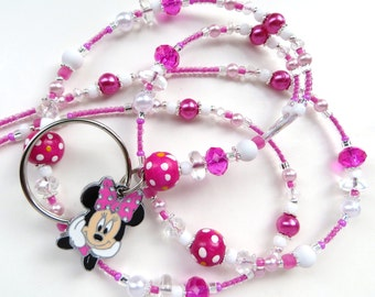 PINK MINNIE- Beaded ID Lanyard- Sparkling Crystals, Wood Beads, Pearls, Minnie Mouse Charm (Necklace Clasp)
