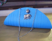 Turquoise Clutch--Blue Elephant Placemat Bag