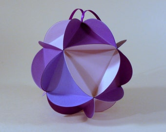 Purple Ombre Paper Globe Ornament, DIY kit, 3D ball party decoration, paper icosahedron, geodesic sphere, diy wedding decor, paper crafting