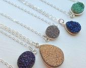 Silver Druzy Necklace Druzy Jewelry Drusy Necklace Jewelry - Gray Gold Blue Green Purple Druzy Christmas Gift Layering Statement Jewelry