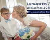 Seersucker Bow Ties - In 12 colors, lavender navy mint coral green cerulean orange yellow crimson aqua khaki gray groomsmen ring bearer