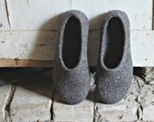 Felted slippers - house shoes - for women - 100 percent organic sheep's wool - gray - made to order