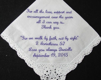 Embroidered Mother of the Bride Wedding Handkerchief