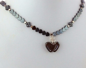 Hematite Hearts and Flowers Natural Stone Pendant Necklace