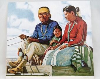 1974 E. Martin Hennings Navajo Family Atchison Topeka and Santa Fe Railway Print