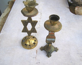 Traditional Bronze Star of David & Baha'i Temple Candlestick Holders, Collectible Israel Religious Candle Holders Home Decor Memorabilia