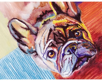 "5x7"" French Bulldog Watercolor Giclee Fine Art Print [French Bulldog Art, French Bulldog Art Print, Unique Dog Wall Décor, Funky Dog Art]"