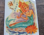 Vintage Mermaid Transfer Decals ~ Unique Nautical Nursery Decor, Original Mermaid Party Gift Ideas, Orange and Green Fish, Ginger Mermaid
