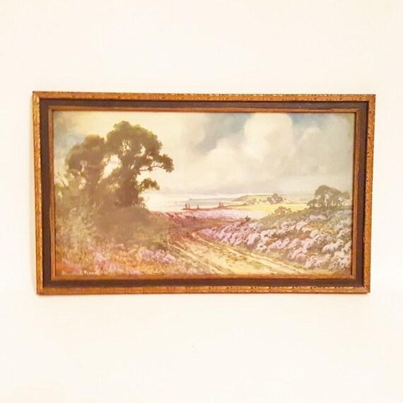 Vintage Art Print Framed Hayward Young Lavender Fields English Coast Line 1920 Nature Home Decor