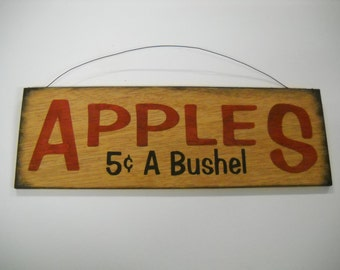 Apples 5c a bushel country kitchen Hand Stenciled Wooden Wall Art Sign farm fruit decor