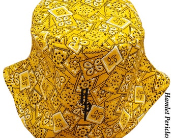 Yellow Bandana Unisex Bucket Hat | Yellow Hat | Bandana Hat | Yellow Bandana | Yellow and Black Kerchief Hat by Hamlet Pericles | HP8315