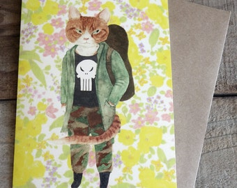 """travel cat """"Beau"""" All purpose greeting card w/ a craft paper envelope"""