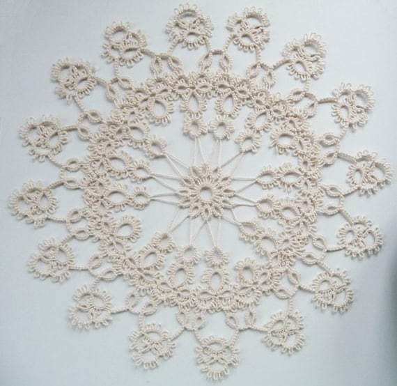 Handcrafted Ivory Tatting Doily - Home decor - Housewarming - tatting shuttle