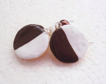 Black And White Cookie Earrings. Polymer Clay