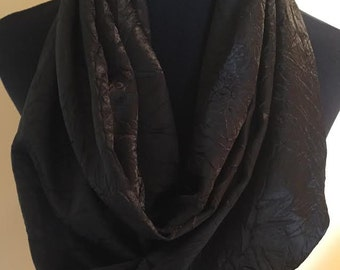 New Silky Black Wrinkled Design Long Infinity Scarf