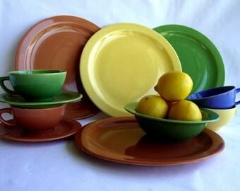 Hollywood Craftsmen NASCO California pottery dinner ware mid century dinner plates