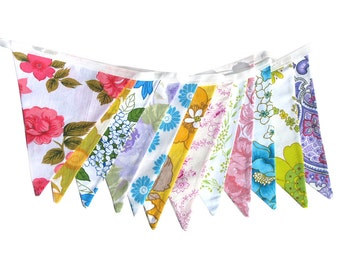 Vintage Bunting. - Retro Pretty Multi-Colour Floral Flags . HANDMADE . Wall hanging, Parties, Party, Wedding Decoration . Australian Made
